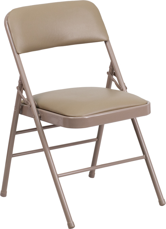 HERCULES Series Triple Braced Beige Vinyl Upholstered Metal Folding Chair HF