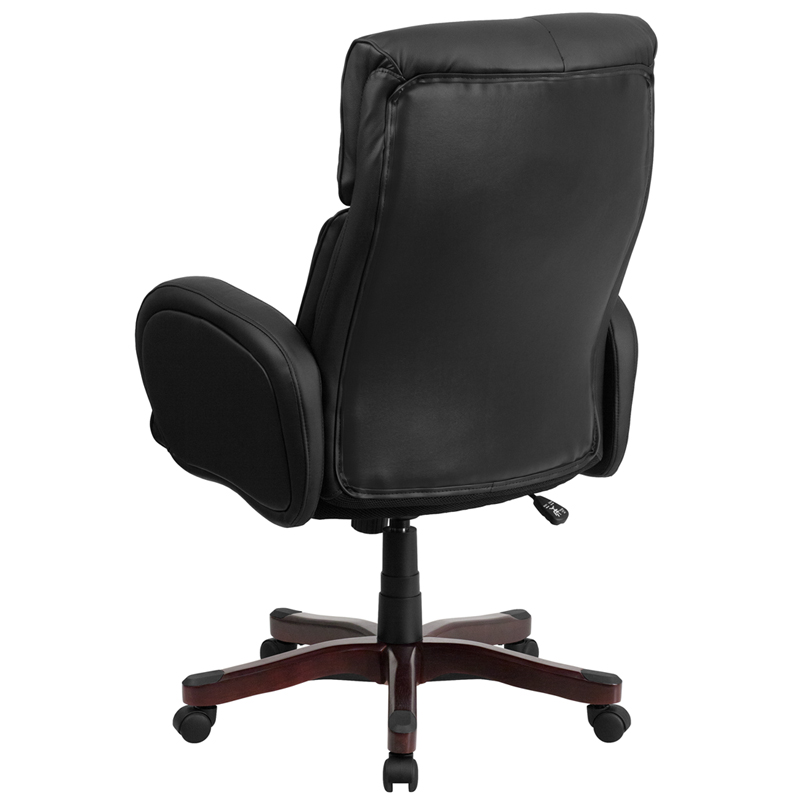 High Back Black Leather Executive Swivel Office Chair With Fully Upholstered