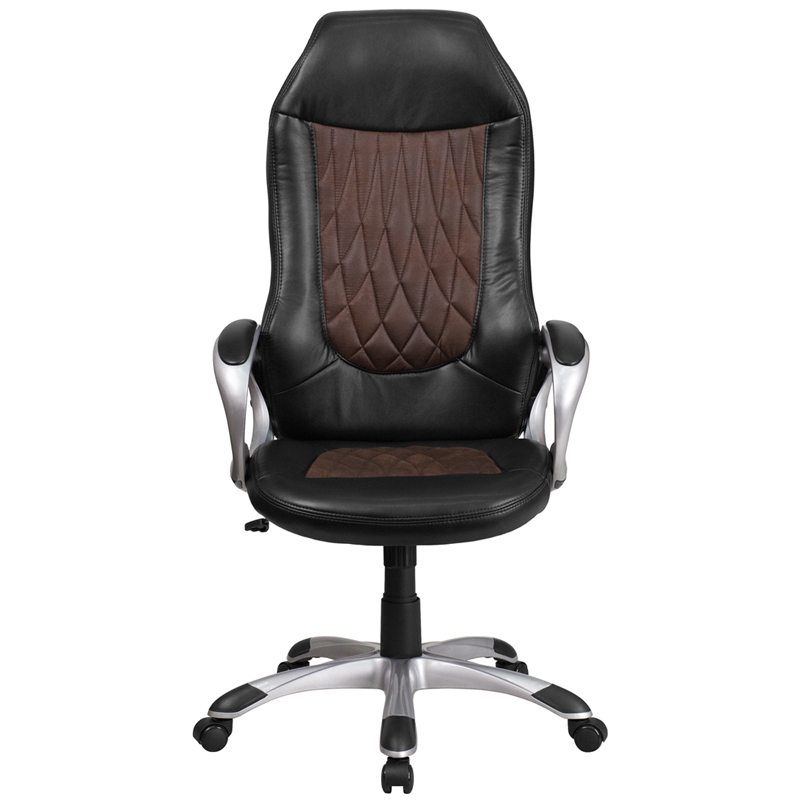 High Back Brown Fabric and Black Vinyl Executive Swivel