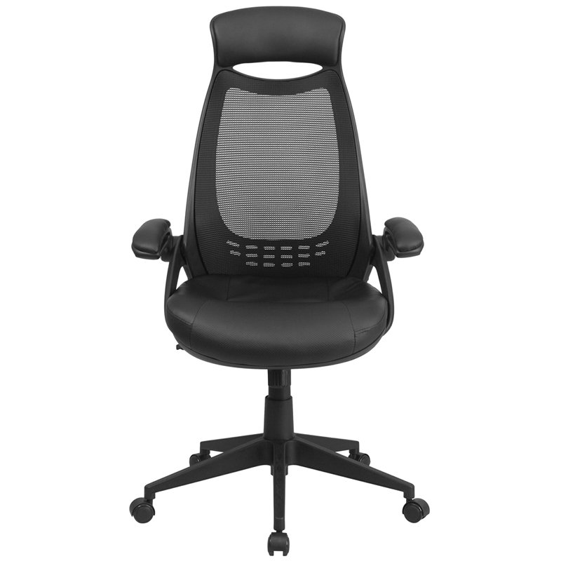 High Back Black Mesh Executive Swivel Office Chair With Leather Padded Seat A