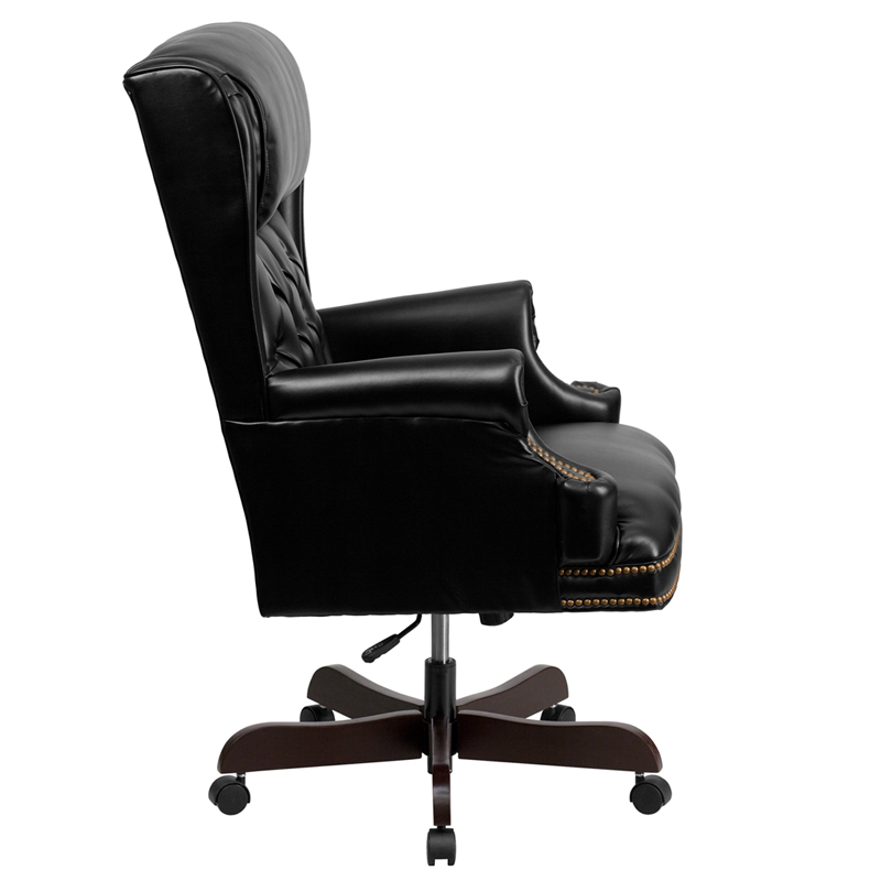 Tufted black leather executive office chair by flash furniture by