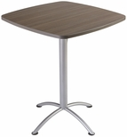 iLand 36'' Square Steel Frame 42''H Conference Table with Edgeband - Natural Teak with Silver Legs [69757-ICE]