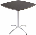 iLand 42'' Square Steel Frame 42''H Conference Table with Edgeband - Gray Walnut with Silver Legs [69764-ICE]