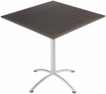 iLand 42'' Square Steel Frame 42''H Conference Table with Urethane Edge - Gray Walnut with Silver Legs [69864-ICE]