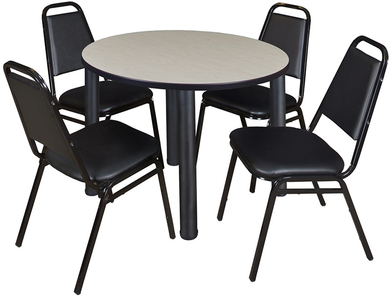 Kee 36 Round Laminate Breakroom Table With 4 Restaurant