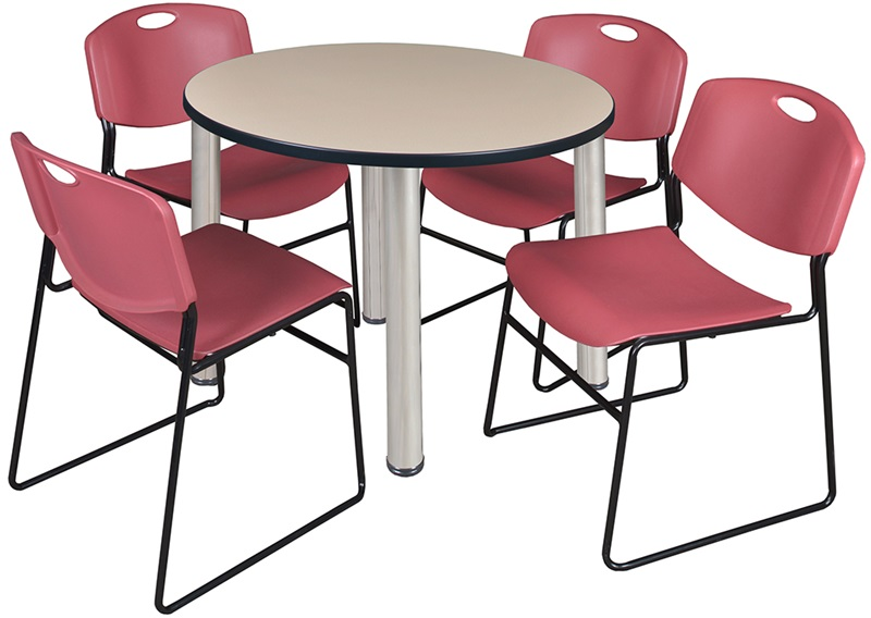 Kee 36 Round Laminate Breakroom Table With 4 Zeng Stack
