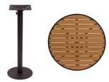 Longport Round Bar Height Table 24'' Synthetic Teak Top - Round Margate Base [PH24RTKBLU-PHTB16RBLT-BFMS]