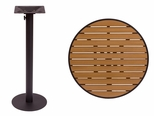 Longport Round Bar Height Table 36'' Synthetic Teak Top - Round Margate Base [PH36RTKBLU-PHTB20RBLT-BFMS]