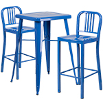 Indoor-Outdoor Metal Bar Height Table and Barstool Sets