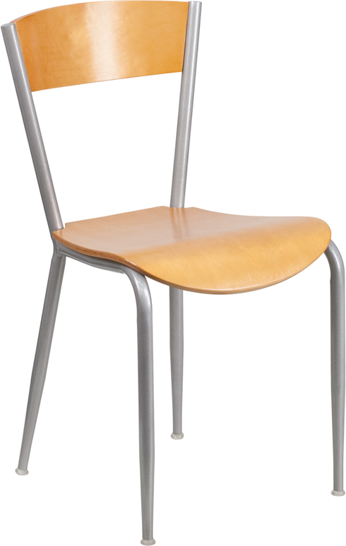 Metal Restaurant Chair with Natural Wood Back & Seat BFDH
