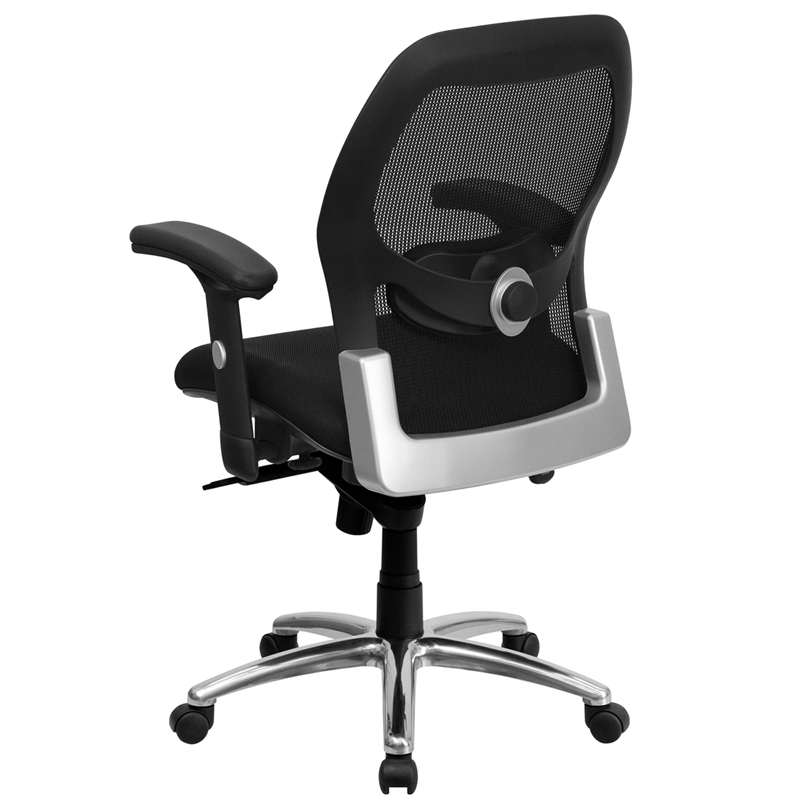Mid Back Black Super Mesh Executive Swivel Chair With Knee Tilt Control And A