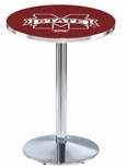 Mississippi State University 36''H Black Wrinkle Finish Counter Height Pub Table with Round Base [L214B36MSSSTU-FS-HOB]