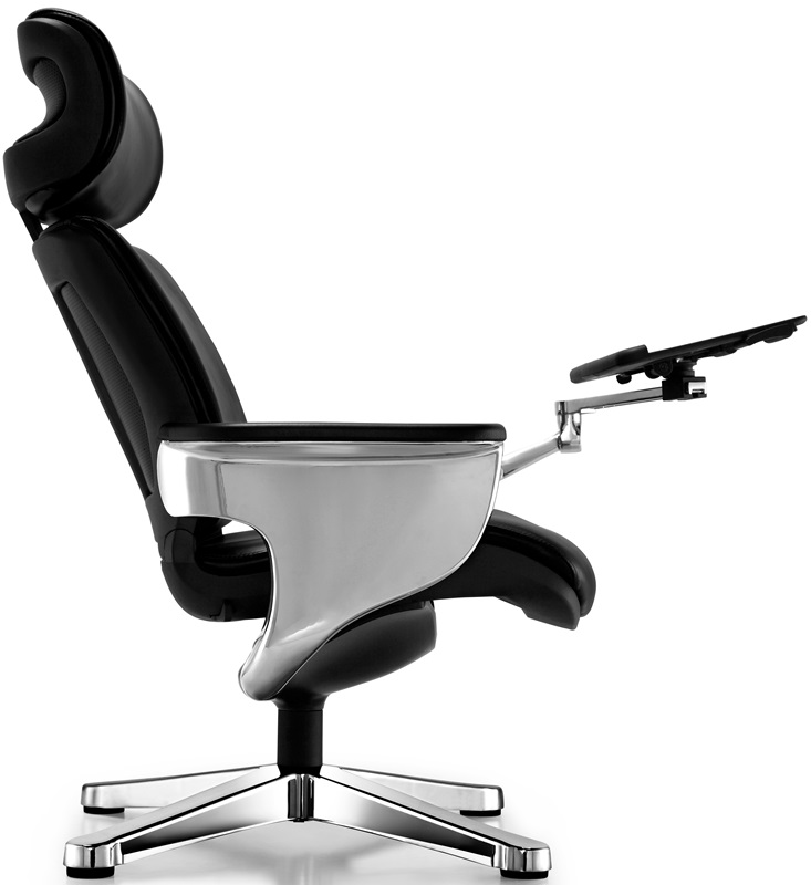 Nuvem Leather Office Chair with Footrest and Built in Laptop – Office Chair Foot Rest