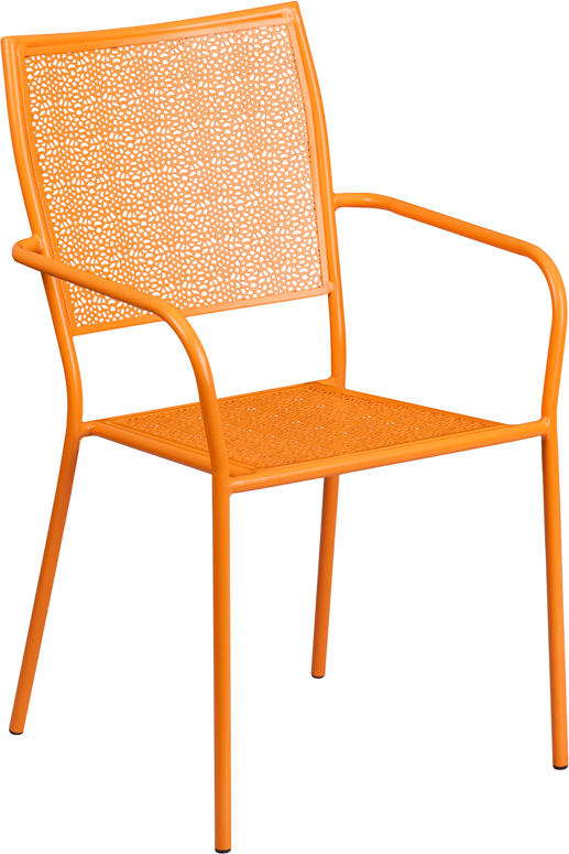 Orange Indoor Outdoor Steel Patio Arm Chair With Square