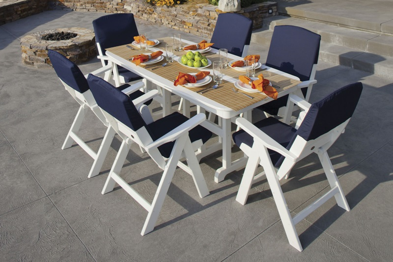 POLYWOOD Nautical 7 Piece Dining Set w Slipcushions™ in