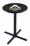 Purdue University 36''H Black Wrinkle Finish Counter Height Pub Table with X-Base [L211B36PURDUE-FS-HOB]