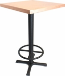 Rectangular Copper Table with Bar Height Black Steel Base - 24''W X 30''L [JC211T-MIO]