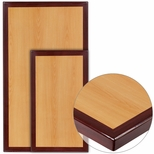 Rectangular Two-Tone <font color = blue><b>Resin</b></font> Cherry Table Top with Mahogany Edge [BFDH-CYMAREC-TDR]