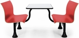 Retro Bench 24'' x 48'' Stainless Steel Top and Center Frame - Red Seats [1006M-RED-MFO]