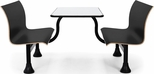 Retro Bench 30'' x 48'' Stainless Steel Top and Center Frame - Black Seats [1007M-BLK-MFO]