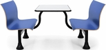 Retro Bench 30'' x 48'' Stainless Steel Top and Center Frame - Blue Seats [1007M-BLUE-MFO]