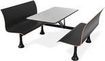 Retro Bench 30'' x 48'' Stainless Steel Top and Wall Frame - Black Seats [1007W-BLK-MFO]