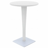 27.5''W Riva Werzalit Top Round Bar Height Table - White [ISP886-WH-FS-CMP]