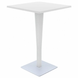 27.5''W Riva Werzalit Top Square Bar Height Table - White [ISP888-WH-FS-CMP]