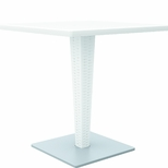 27.5''W Riva Werzalit Top Square Dining Table - White [ISP884-WH-FS-CMP]