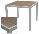 Sedona 24'' Square Table with Gray Nevada Slat Table Top - Anodized Silver [SC-2401-402-GRY-SC-1009-511-SCON]