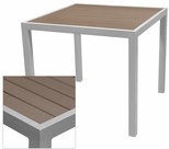 Sedona 32'' Square Table with Gray Nevada Slat Table Top - Anodized Silver [SC-2401-405-GRY-SC-1009-520-SCON]