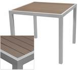 Sedona 36'' Square Table with Gray Nevada Slat Table Top - Anodized Silver [SC-2401-406-GRY-SC-1009-527-SCON]