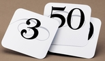 Set of 1-50 Elegant Number Cards White with Black Print [671-1-CLM]