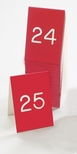 Set of Break Resistant 1-25 Double Sided Number Tents in Red with White Engraving [269A-1-CLM]