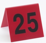 Set of Break Resistant 1-25 Number Tents in Red with Black Print [226-CLM]