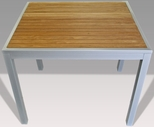 32'' Square Synthetic Teak Inlay Outdoor Table with Silver Frame [32X32-TEAK-INLAY-TABLE-FLS]