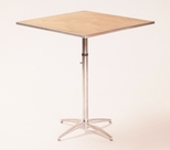 Standard Series Height Adjustable Square Pedestal Table with Chrome Plated Steel Column and Plywood Top - 36''D x 36''W [MP36SQPEDADJ-MFC]