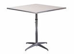 Standard Series Height Adjustable Square Pedestal Table with Aluminum Edge, Chrome Plated Steel Column, and Mayfoam Top - 24''D x 24''W [MF24SQPEDADJ-CAE-MFC]