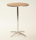 Standard Series Round Pedestal Table with Chrome Plated Steel Column and Plywood Top - 36''Dia x 42''H [MP36RDPED42-MFC]