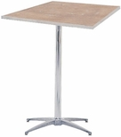 Standard Series Square Pedestal Table with Chrome Plated Steel Column and Plywood Top - 30''D x 30''W x 42''H [MP30SQPED42-MFC]