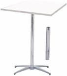 Standard Series Square Height Adjustable Pedestal Table with Aluminum Edge, Chrome Plated Steel Column, and Mayfoam Top - 30''D x 30''W [MF30SQPED3042-CAE-MFC]