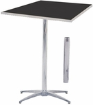 Standard Series Square Pedestal Table with Height Adjustable Columns, Chrome Plated Steel Column, and Laminate Top - 36''D x 36''W [ML36SQPED3042-MFC]