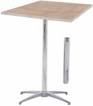 Standard Series Square Pedestal Table with Height Adjustable Columns, Chrome Plated Steel Column, and Plywood Top - 30''D x 30''W [MP30SQPED3042-MFC]