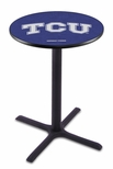 Texas Christian University 36''H Black Wrinkle Finish Counter Height Pub Table with X-Base [L211B36TEXCHR-FS-HOB]