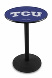 Texas Christian University 36''H Black Wrinkle Finish Counter Height Pub Table with Round Base [L214B36TEXCHR-FS-HOB]