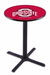 The Ohio State University 36''H Black Wrinkle Finish Counter Height Pub Table with X-Base [L211B36OHIOST-FS-HOB]