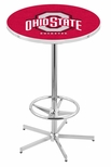The Ohio State University 42''H Chrome Finish Bar Height Pub Table with Foot Ring [L216C42OHIOST-FS-HOB]