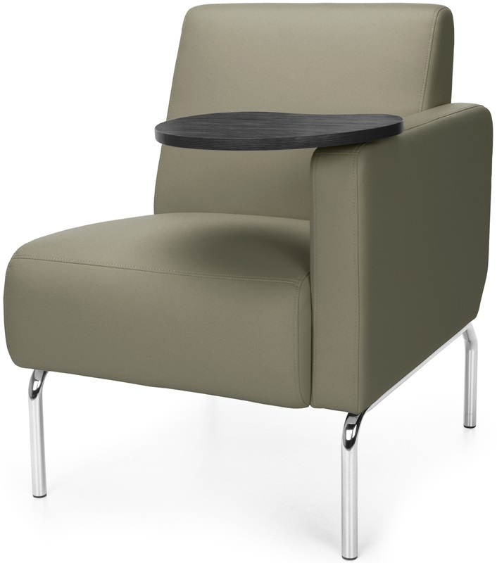 Triumph Left Arm Modular Lounge Chair with Tablet Vinyl Seat and Chrome Feet