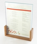 U-Style Bamboo Frame and Clear Acrylic 4'' x 11'' Card Holder with Green Edges [1510-411-60-CLM]
