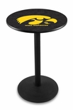 University of Iowa 36''H Black Wrinkle Finish Counter Height Pub Table with Round Base [L214B36IOWAUN-FS-HOB]
